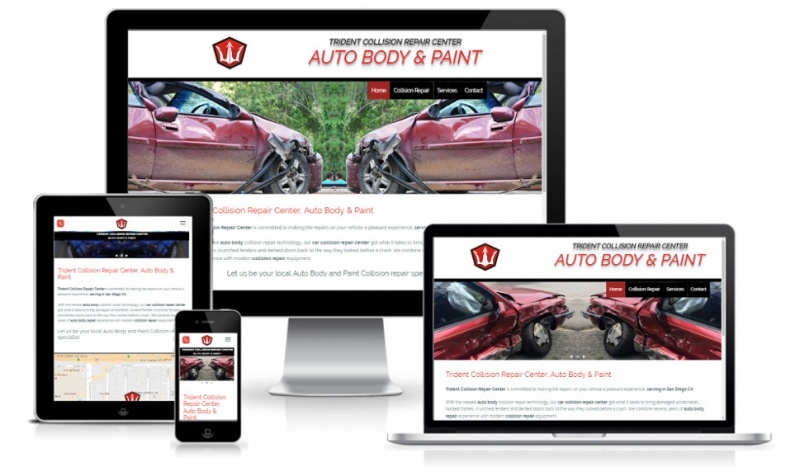 Full responsive auto body and pain website design in san diego, ca